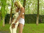 Tempting blonde shemale strips off in public