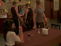 Naughty sluts get fucked by three guys in a bar