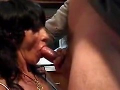 Milf that is brunette sucks hard penis for clean juic that