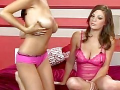Hot babes Jaime Hammer and Jessica Kramer strips and shows their massive tits