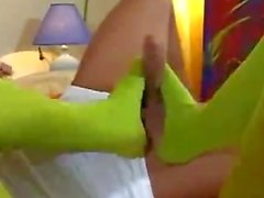 sexy green pantyhose footjob