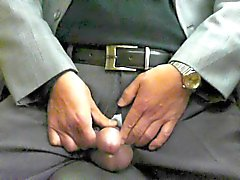 Japanese old man.Semen flows out of the penis erect stiff