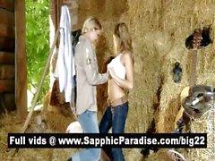 Порочная блондинка и Redhead лесбиянки поцелуи и облизывает соски и обладающие Лесбия любовь