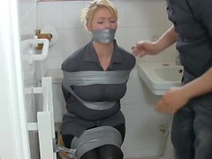 Blonde housewife in bathroom