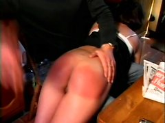 Brunette tries out an ass whooping by her man and wants more