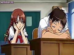 Vacker anime nymphet får rammades