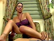 Footjob babe rubs her feet and she cums hard