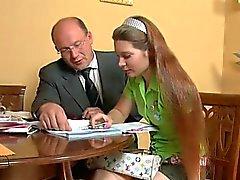 Trio lektion med äldre lärar