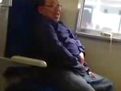 Pervert jerking and eating his cum on the train