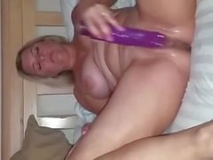 Sexy wife with a real 1hottie profile plays with a dildo