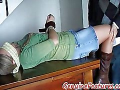 Horny milf in pantyhose tied blindfolded and