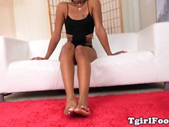 Barefeet latina tgirl teasing with her toes
