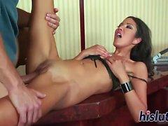 Slender schoolgirl rides a massive meat pole