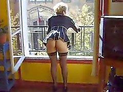 Kinky mogen fransk dildo och näve