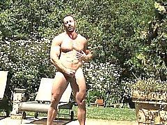 Håriga björn braden loungerna vid poolen samt börjar känna horny