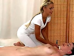 Foxy lesbian babe gets an oily full body massage
