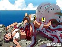 Deceitful hentai flickan med en brytbar luddig varv flundra gör några hemliga tjänst en bläckfisk