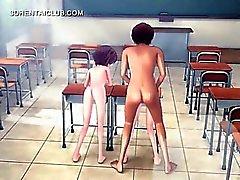 Anime- Mädchen in Dreier Gruppensex der Schule