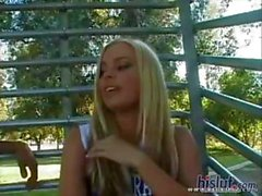 Busty blonde cheerleader Alicia Rhodes gets two cocks and a DP