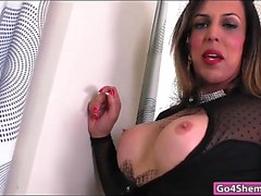 Shemale Fernanda Khelher toys ass and jerk off her hard cock
