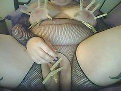Сексуальное Goth толстушка во рыболовные сети Butt Plug а Домашняя Синица Пытка