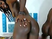3 chocolate girls with dildo
