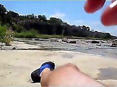At Beach Baba Yüze Boşalma