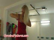 Sexy czech blonde does backstage striptease