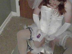 Crossdresser Bride with Vibrator