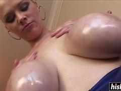 Katie Kox titty fucked a black cock