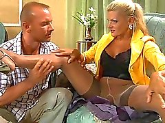 Tanned blonde milf in pantyhose takes on hard cannon