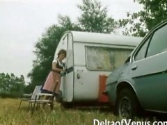 Retro Porn 1970er - Hairy Brunette - Camper Kupplungs