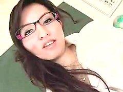 Учительница в очках с колготками показывает ее чудо