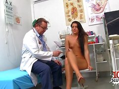 brunette doctor gaping with cumshot film