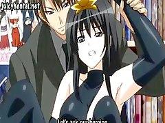 Brunette anime går ut och får sin fitta borrad i offentliga