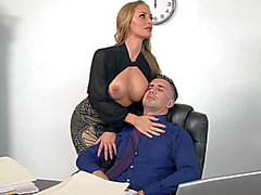 Nicole Aniston helps her boss,fearsome letting him to engulf on her soaked mangos