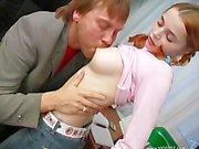 Hot Teen Office Slut Redhead gets pounded all day