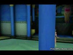 De dibujos animados 3D de Foxy hottie rubia jugar con se