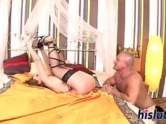 Hot brunette in stockings gets screwed hard