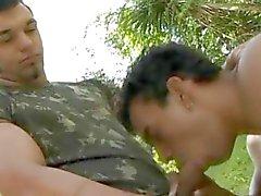 Militär Kräftig Homosexuell Outdoor Fick