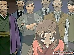 Japanischen Hentai Mädchen gefangen und die brutale Weise Gangbang bandi
