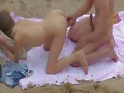 Plajda çift fuck