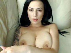 Hot Skinny Brunette Babe Big Boobs Dildo Play