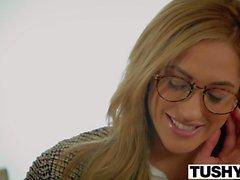 TUSHY Chloe Amour versucht doppelte Penetration