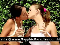 Amazing brunette lesbos kissing and licking nipples and having lesbo love