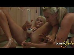 Puma Swede Gets Messy With Hot Blonde & Some Vegetables in Kitchen!