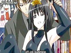 Brunette anime flicka är i offentlig och får hennes fitta borrad