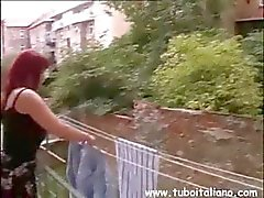 Italian redhead with big tits eats cock and gets pussy nailed