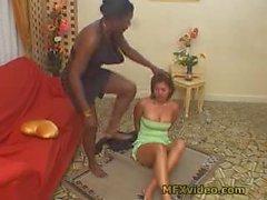 Black mistress dominates white female slave with feet Part 1