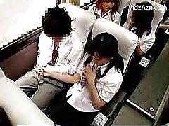 Schoolgirl branlent tous en Les gars de coq le TRIP écoles de bus